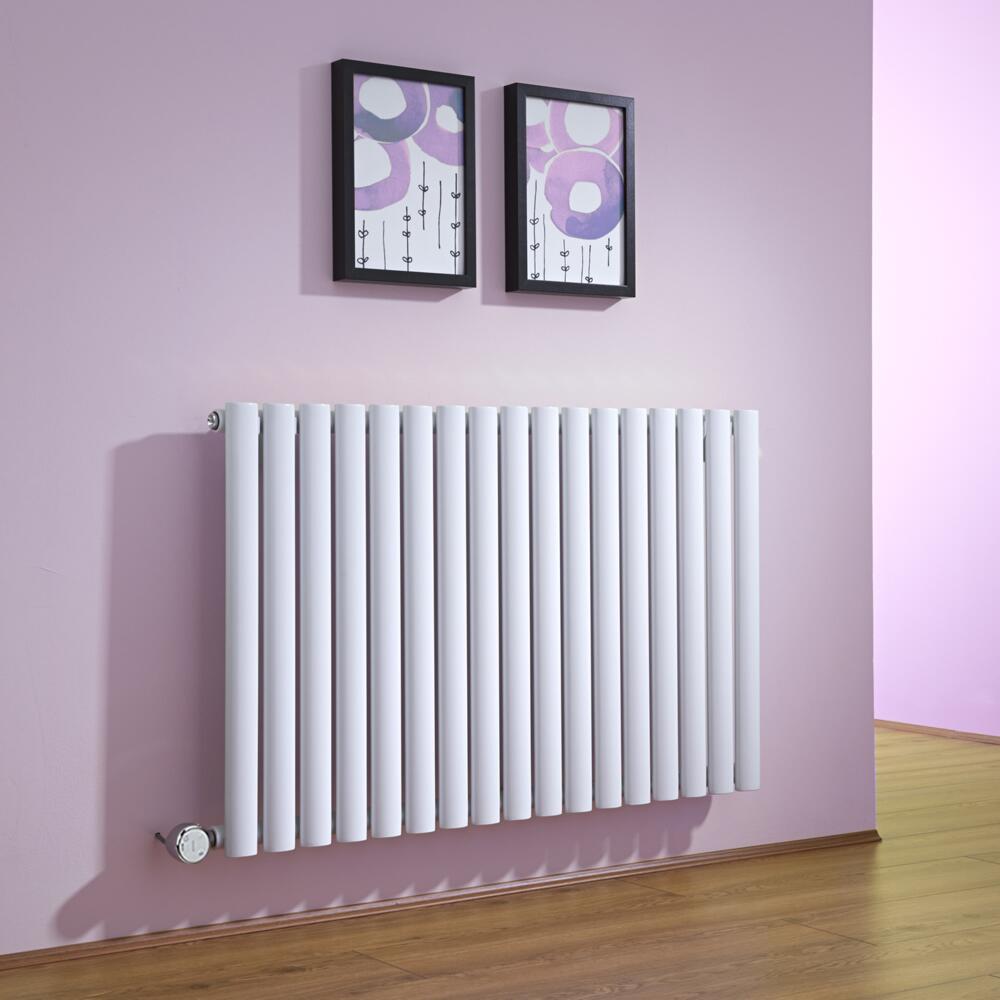 Radiatore di Design Elettrico Orizzontale - Bianco - 635mm x 1000mm x 55mm  - Elemento Termostatico 1000W  - Revive