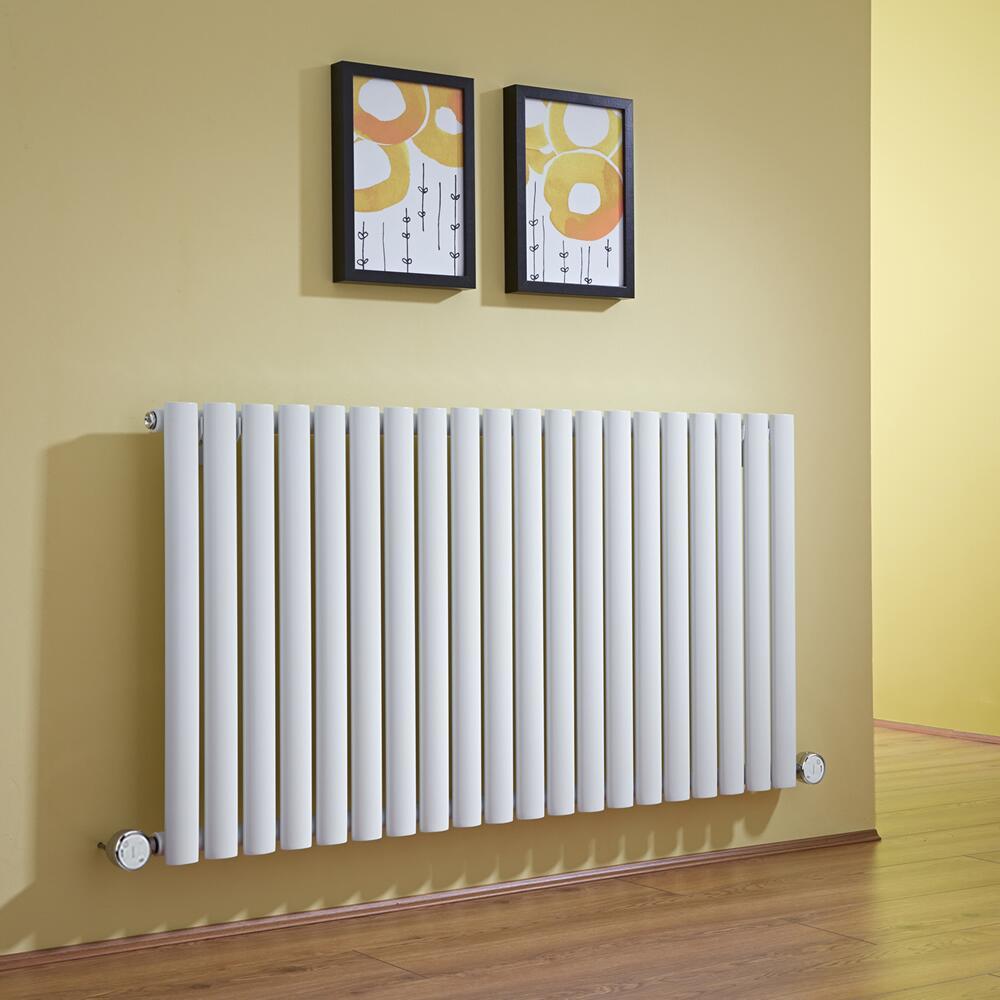 Radiatore di Design Elettrico Orizzontale - Bianco - 635mm x 1180mm x 56mm  - 2 Elementi Termostatici 600W  - Revive