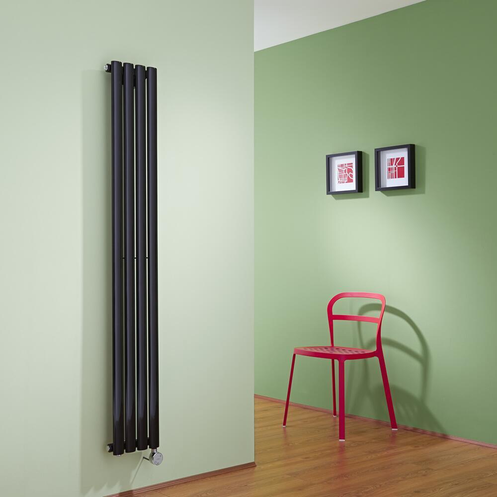 Radiatore di Design Elettrico Verticale - Nero - 1600mm x 236mm x 56mm  - Elemento Termostatico  600W  - Revive