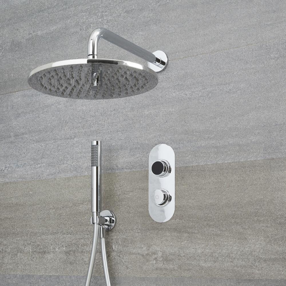 Doccia Digitale con Sistema di Controllo a 2 Vie con Soffione Doccia Circolare 300mm, Braccio Doccia Murale e Doccetta - Narus
