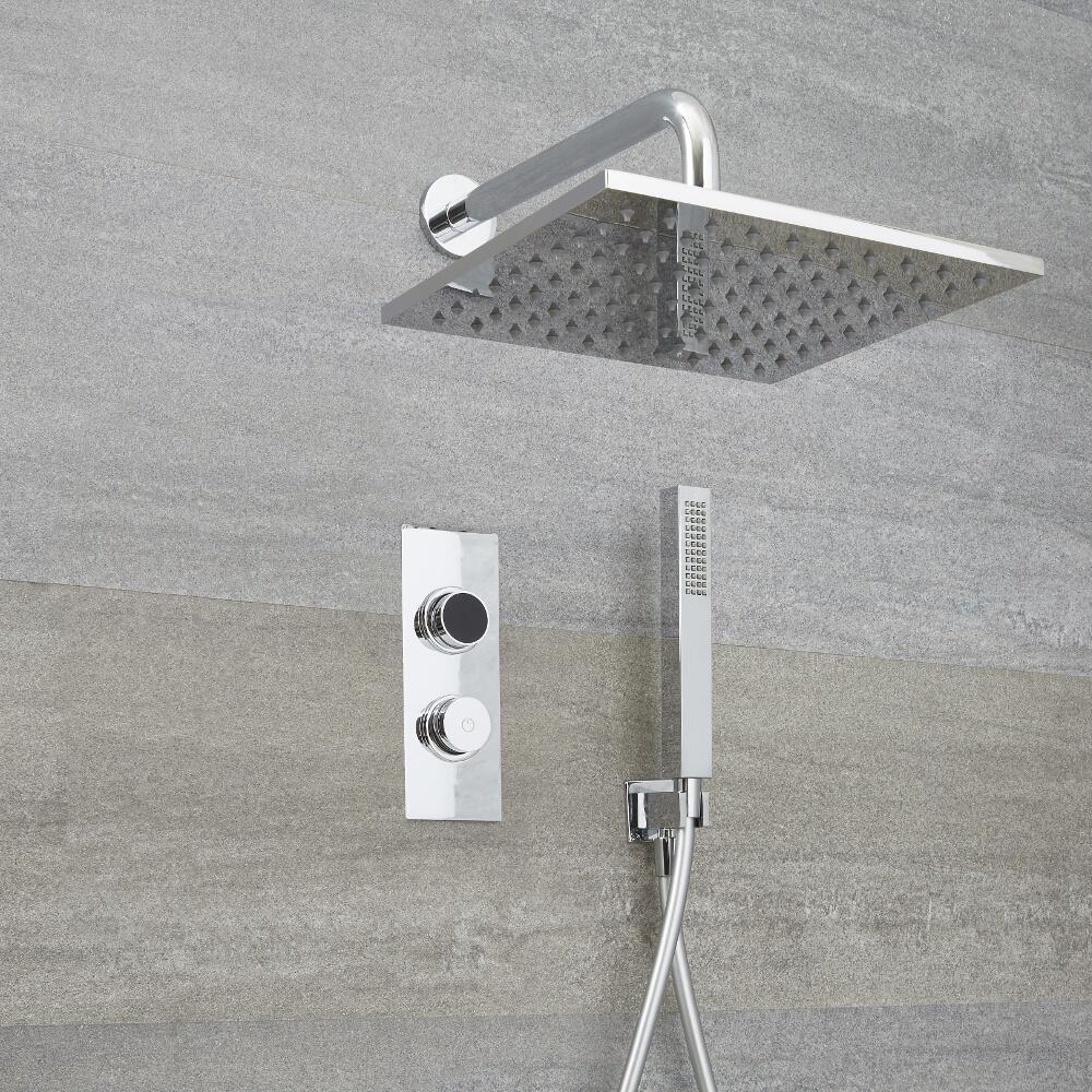 Doccia Digitale con Sistema di Controllo a 2 Vie con Soffione Doccia Quadrato 300x300mm e Doccetta - Narus