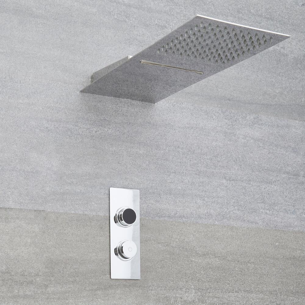 Doccia Digitale con Sistema di Controllo a 2 Vie con Soffione Doccia Effetto a Pioggia e Cascata con Doccetta - Narus