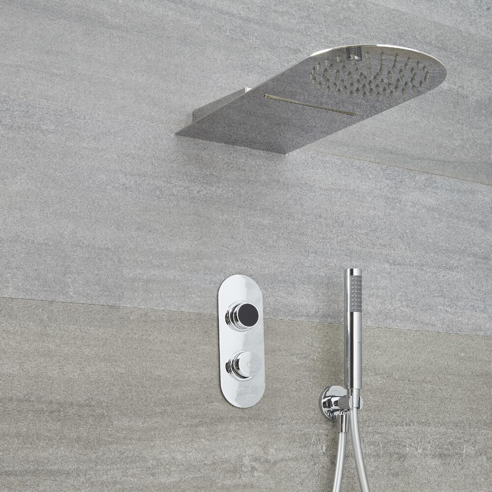 Doccia Digitale con Sistema di Controllo a 2 Vie con Soffione Doccia Effetto a Pioggia e Cascata  - Narus