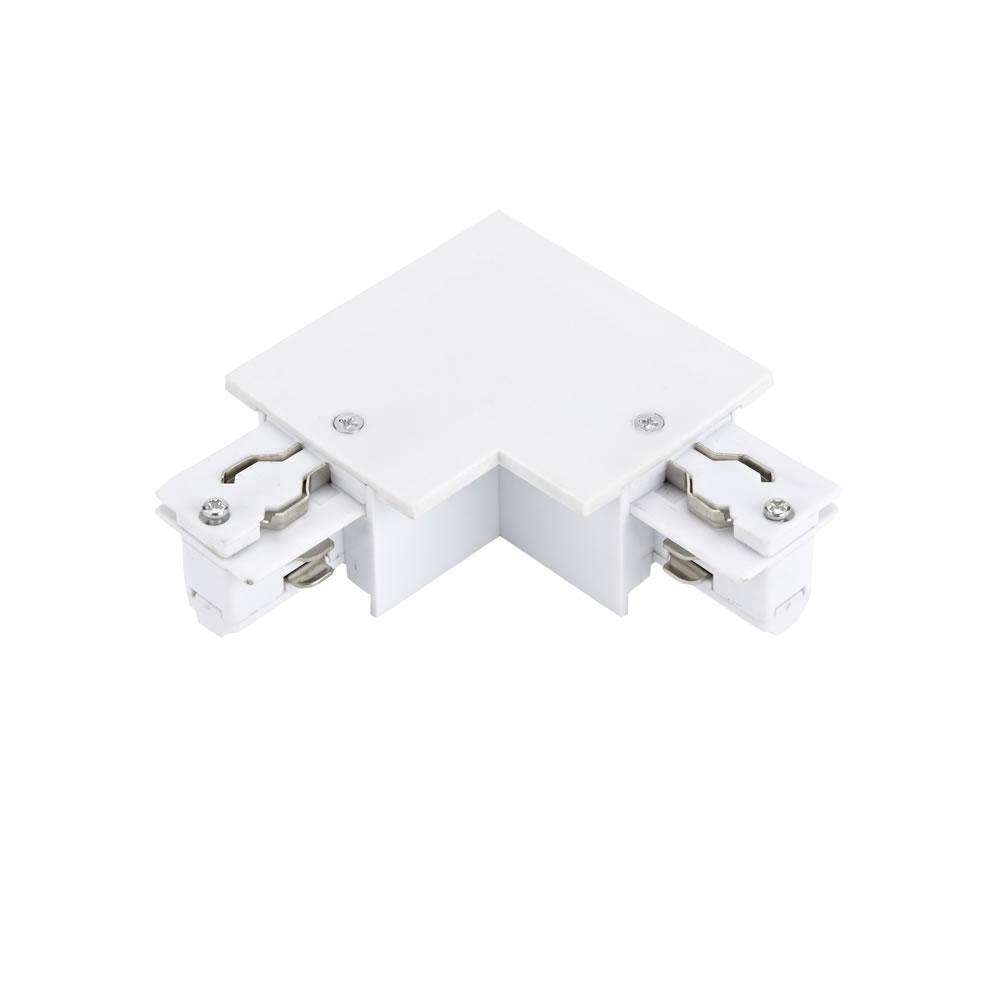 Connettore Tipo L per Binario Trifase da Incasso - Bianco