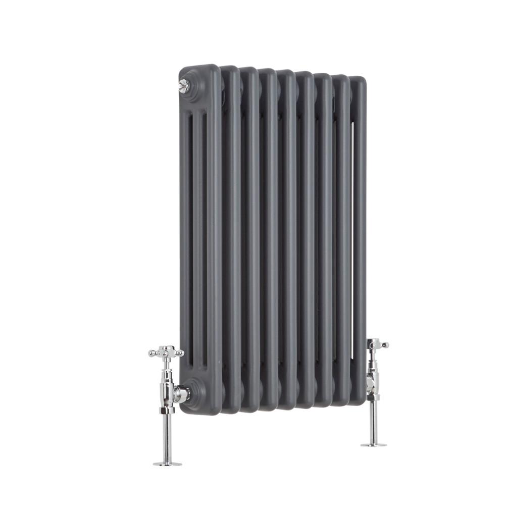 Radiatore di Design Orizzontale a 3 Colonne Tradizionale - Antracite - 600mm x 429mm x 100mm - 658 Watt - Regent