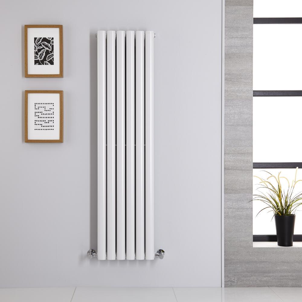 Radiatore di Design Verticale Doppio - Bianco - 1400mm x 354mm x 78mm - 1044 Watt - Revive