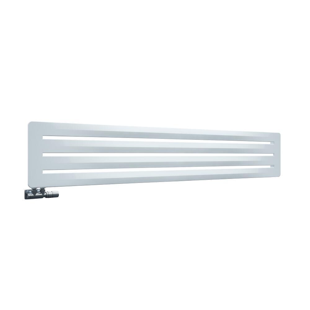 Radiatore di Design Orizzontale con Attacco Centrale - Bianco- 325mm x 1800mm x 11mm - 737 Watt - Leba