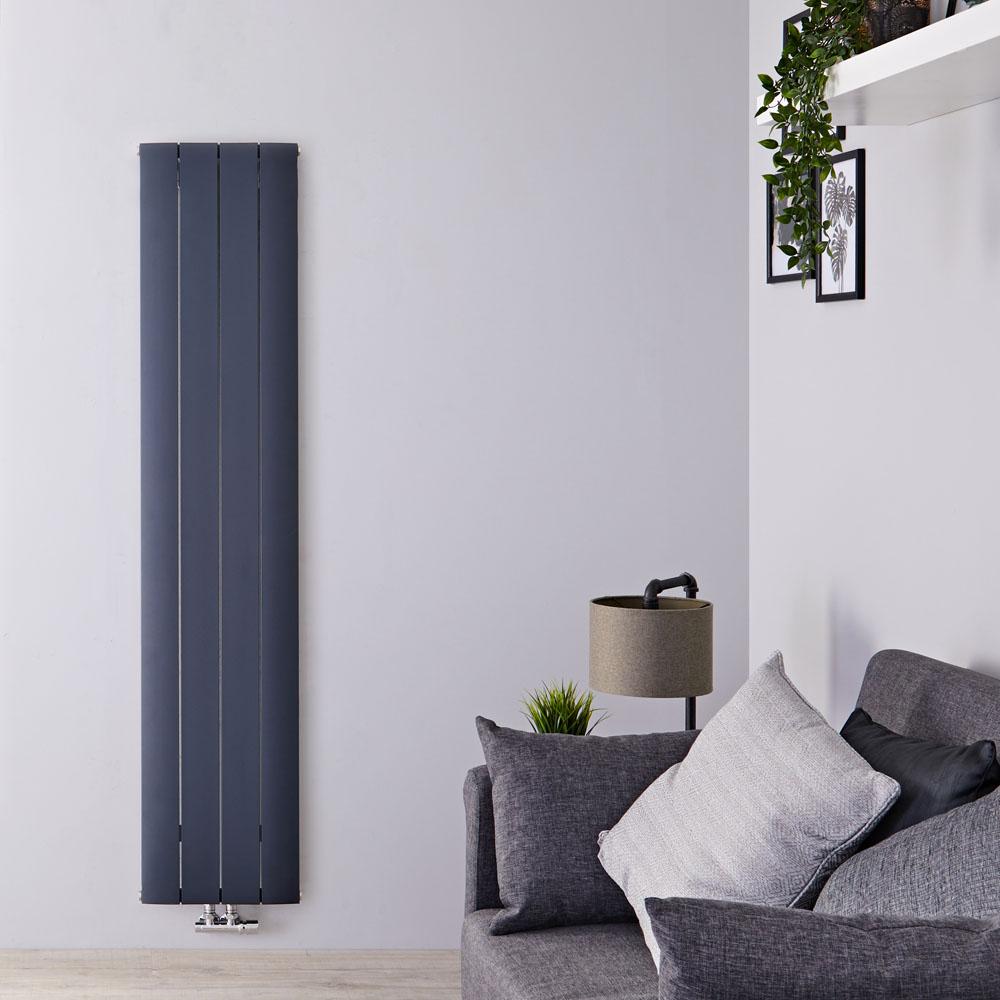 Radiatore di Design Verticale con Attacco Centrale - Alluminio - Antracite - 1600mm x 375mm x 46mm - 1361 Watt - Aurora