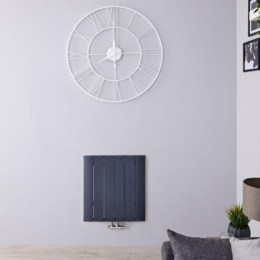 Radiatore di Design Orizzontale con Attacco Centrale - Alluminio - Antracite - 600mm x 565mm x 46mm - 692 Watt - Aurora