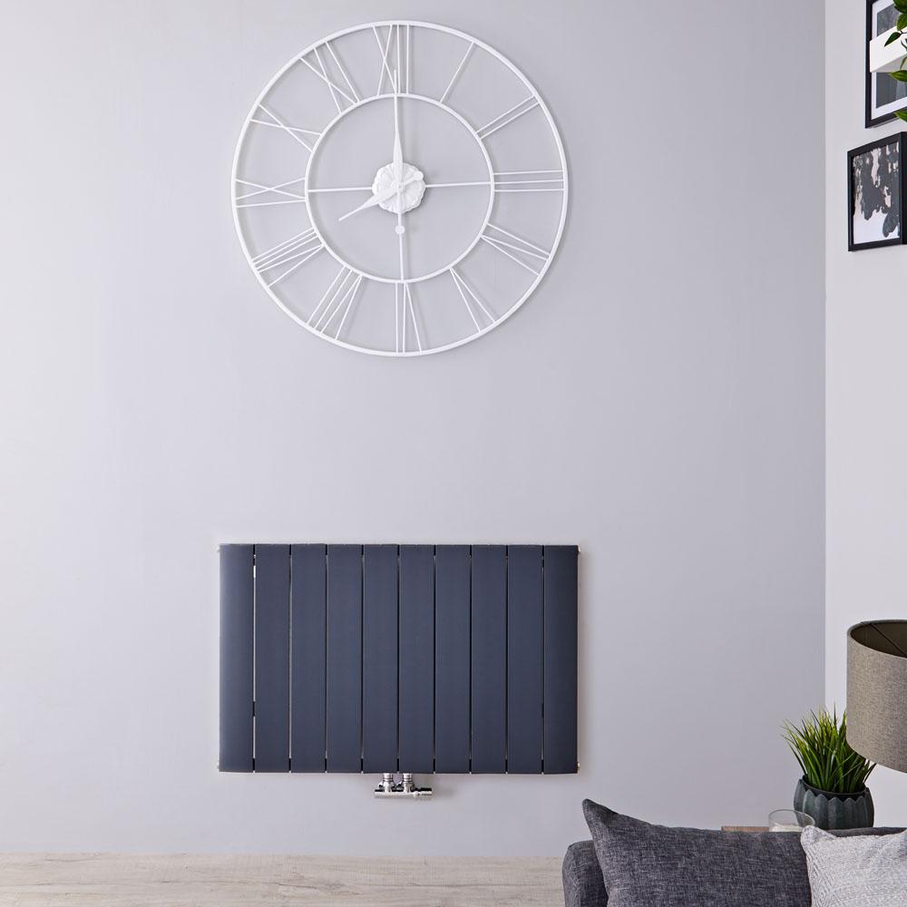 Radiatore di Design Orizzontale con Attacco Centrale - Alluminio - Antracite - 600mm x 945mm x 46mm - 1279 Watt - Aurora