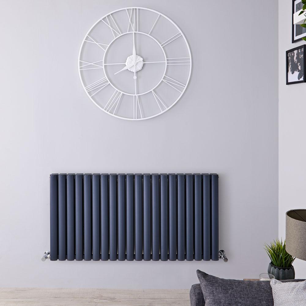 Radiatore di Design Orizzontale Doppio - Antracite - 600mm x 1190mm x 76mm - 2298 Watt - Revive Air