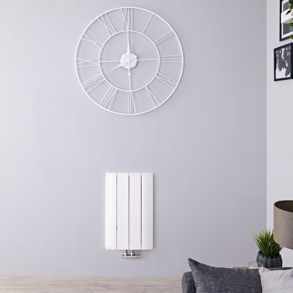 Radiatore di Design Orizzontale con Attacco Centrale - Alluminio - Bianco - 600mm x 375mm x 46mm - 512 Watt - Aurora