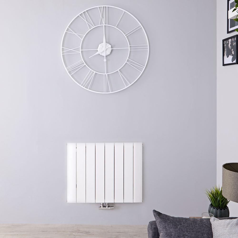 Radiatore di Design Orizzontale con Attacco Centrale - Alluminio - Bianco - 600mm x 755mm x 46mm - 1024 Watt - Aurora