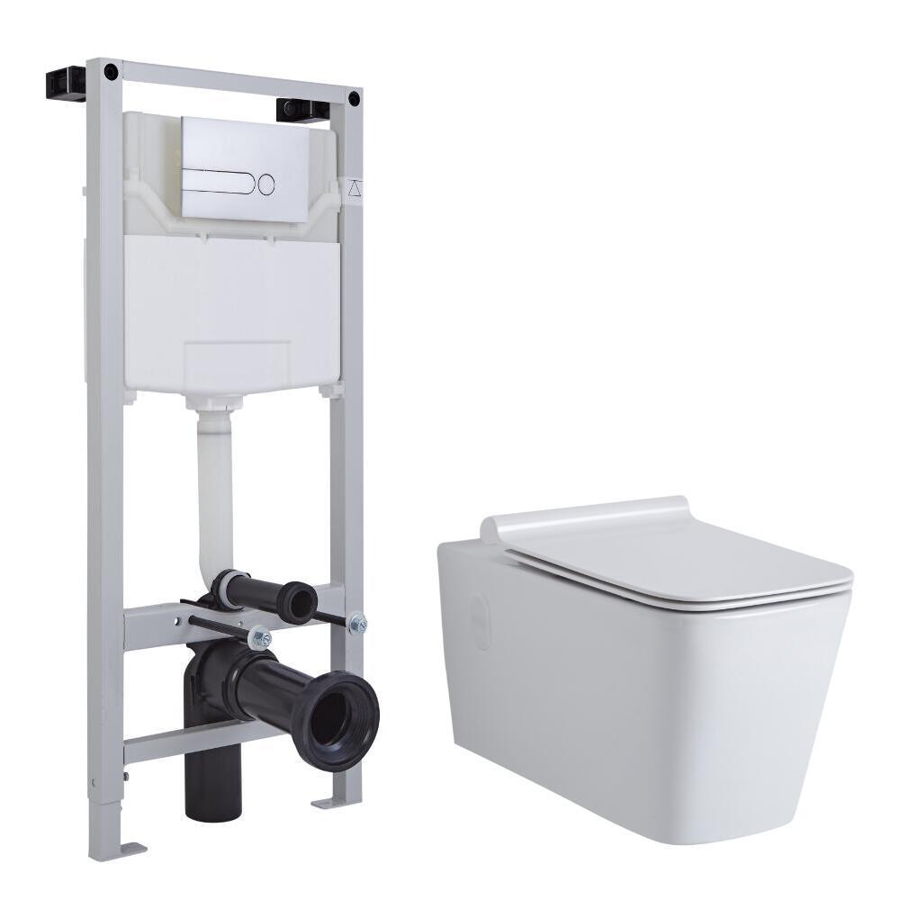 Sanitario Bagno Quadrato Sospeso Completo con Coprivaso, Telaio con Cassetta ad Incasso con Placca di Comando per WC A Doppio Pulsante -  Sandford