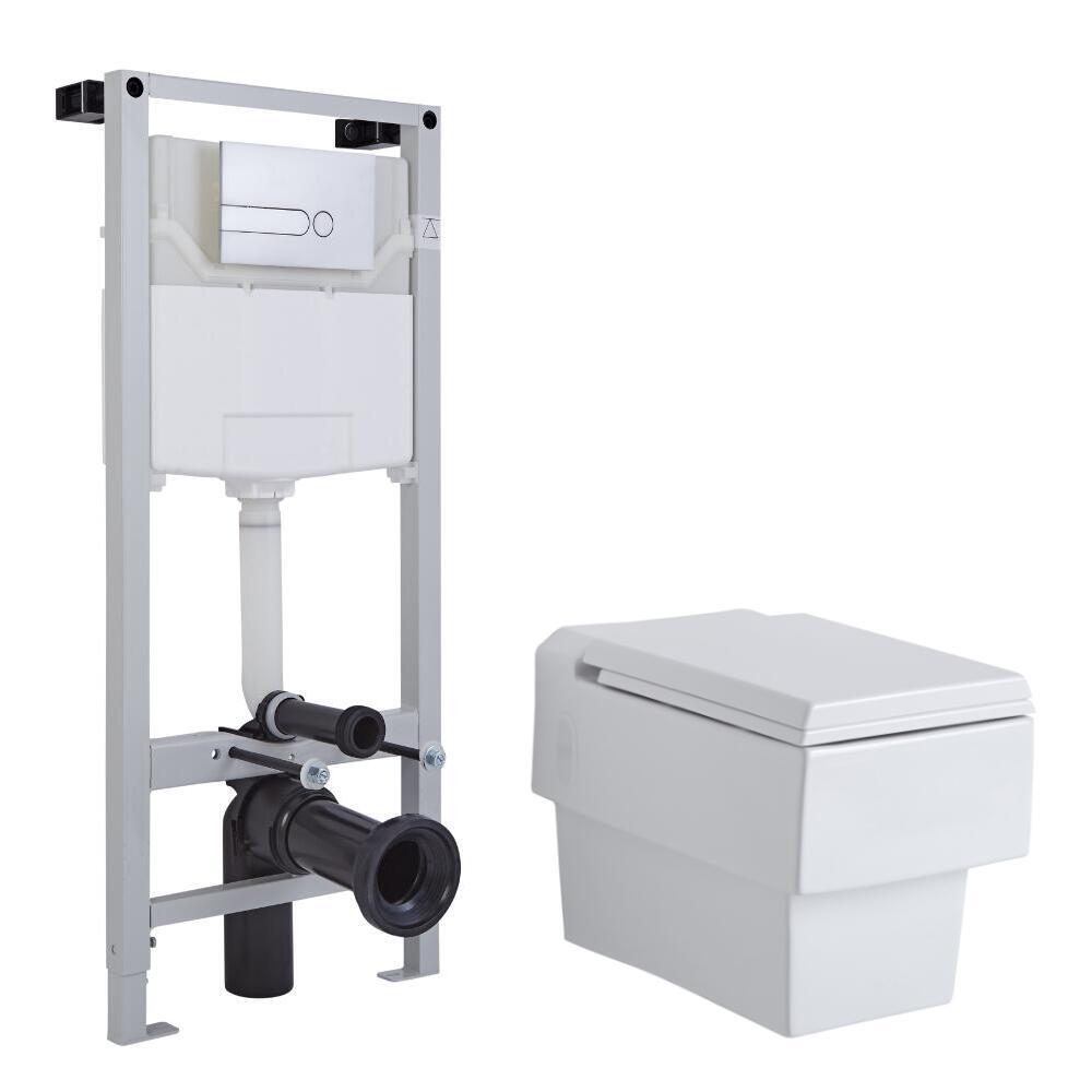 Sanitario Bagno WC Quadrato Sospeso 410x340x440mm con Sedile Copri WC Soft Close, Telaio con Cassetta ad Incasso con Placca di Comando per WC A Doppio Pulsante - Haldon