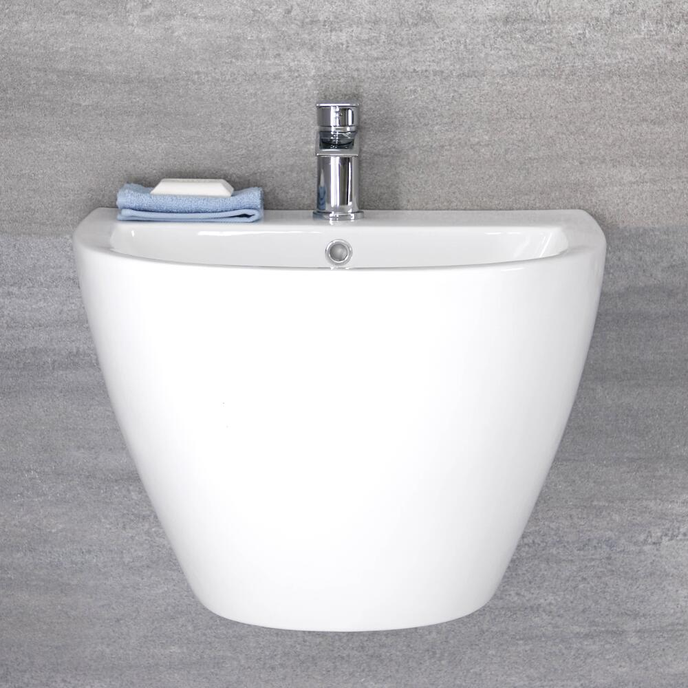 Lavabo Sospeso Moderno Monoforo 530mm x 440mm Ceramica Bianca - Ashbury