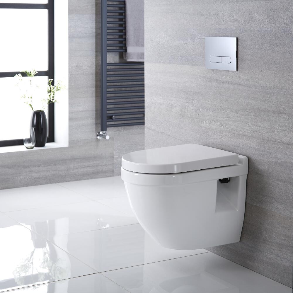 Sanitario Bagno WC Quadrato Sospeso  400x360x515mm con Sedile Copri WC Soft Close - Belstone