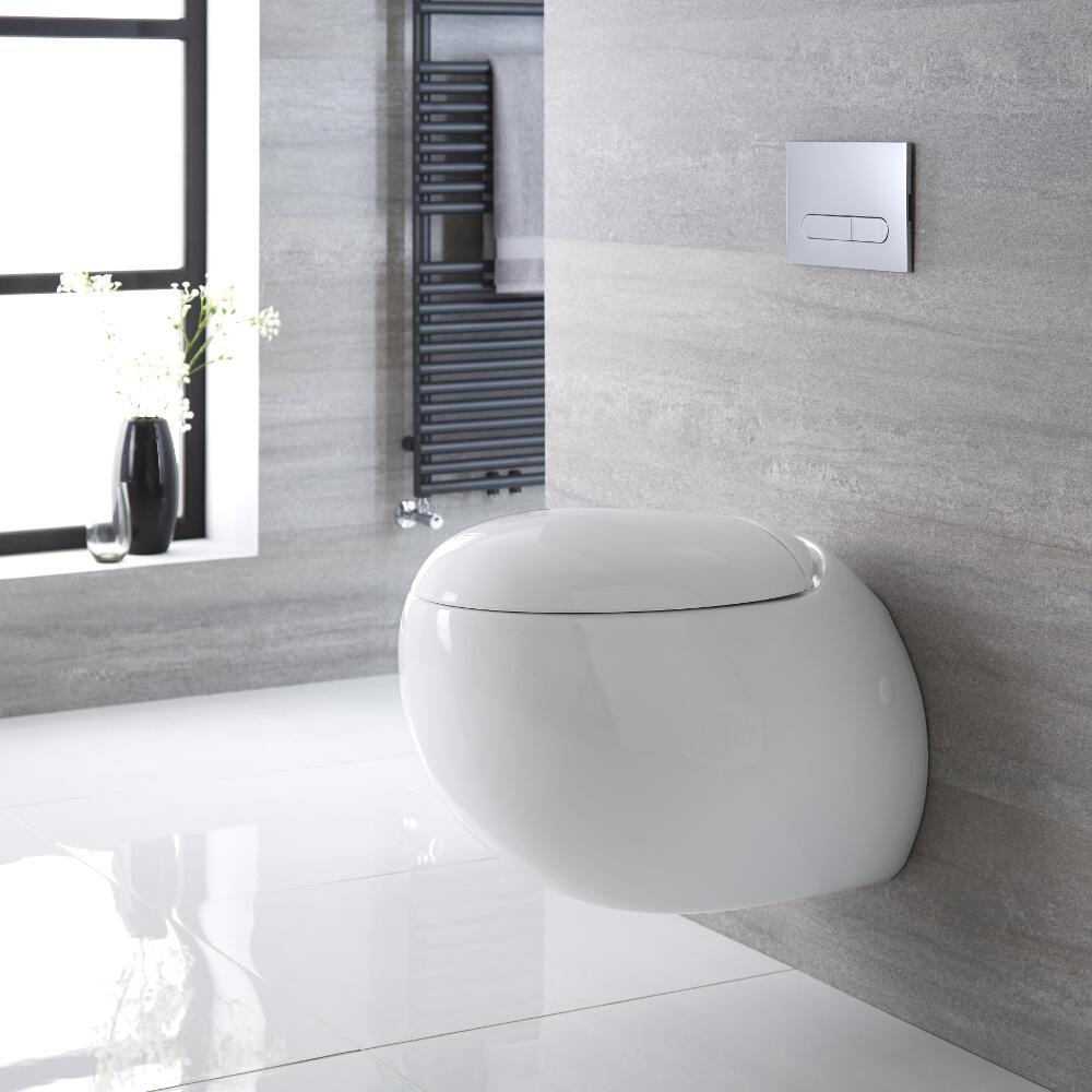 Sanitario bagno wc ovale sospeso 420x350x590mm con sedile copri wc soft close langtree - Bagno con wc separato ...