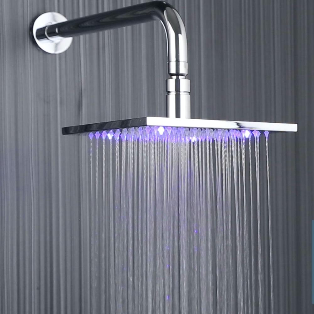 Soffione Doccia LED Fisso Quadrato 200mm con Braccio Doccia Murale