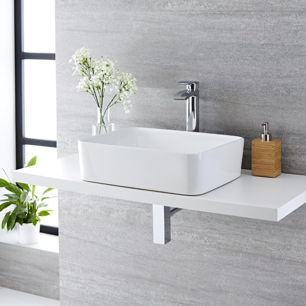 Lavabo Bagno da Appoggio Rettangolare in Ceramica  480x370mm - Alswear