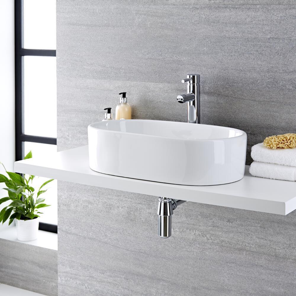 Lavabo Bagno da Appoggio in Ceramica Ovale 560x355mm - Otterton