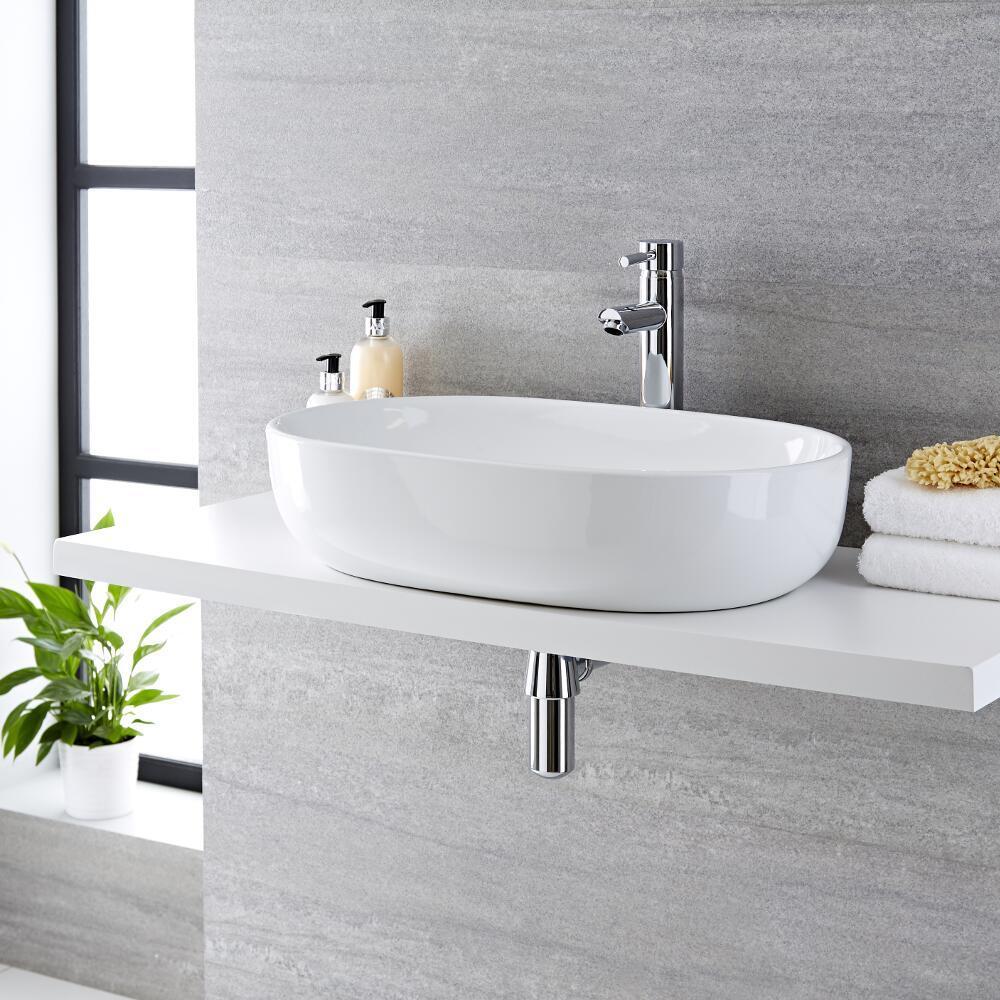 Lavabo Bagno da Appoggio in Ceramica Ovale 590x410mm con Rubinetto Miscelatore - Otterton