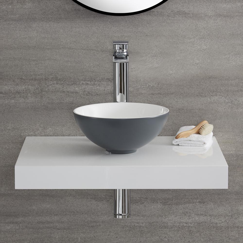 Lavabo da Appoggio Circolare 280mm Ceramica di Colore Grigio Pietra Perfetto per Qualsiasi Soprapiano - Witton