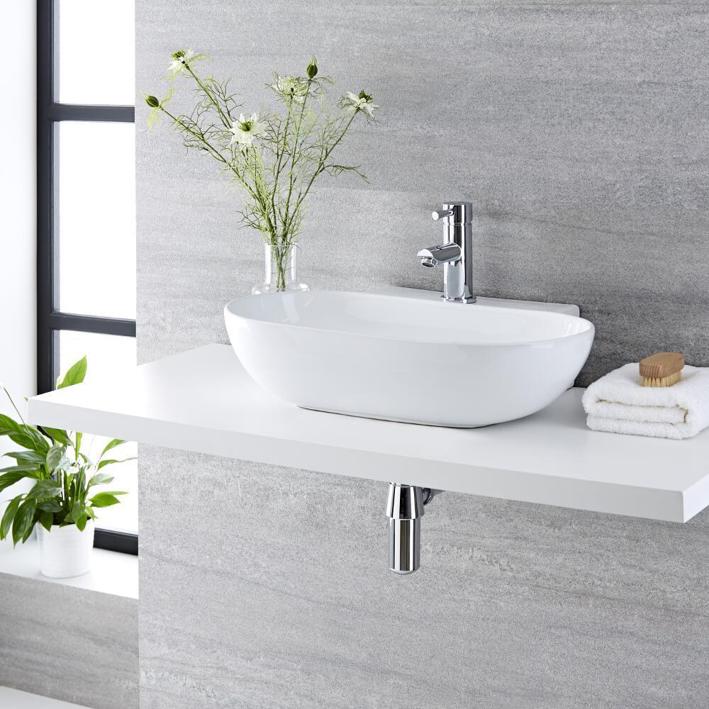 Lavabo Bagno da Appoggio in Ceramica Ovale 555x395mm - Otterton