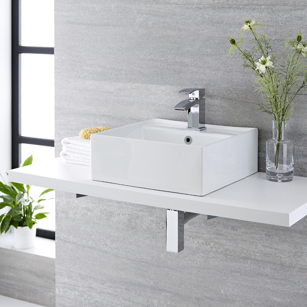 Lavabo Bagno da Appoggio Quadrato in Ceramica 400x40mm - Halwell