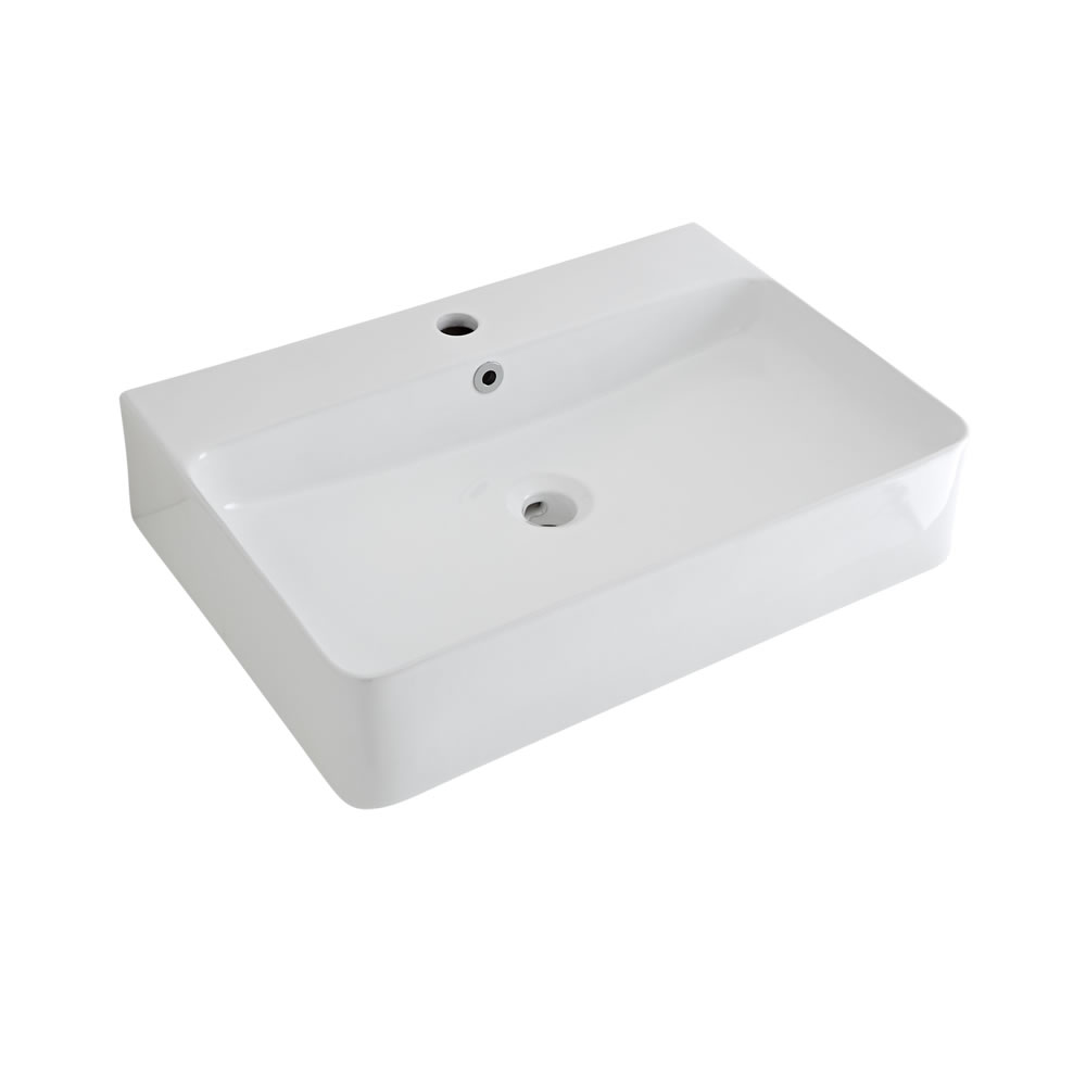 Lavabo Bagno da Appoggio Sospeso in Ceramica Rettangolare 600x310mm con Rubinetto Miscelatore - Exton