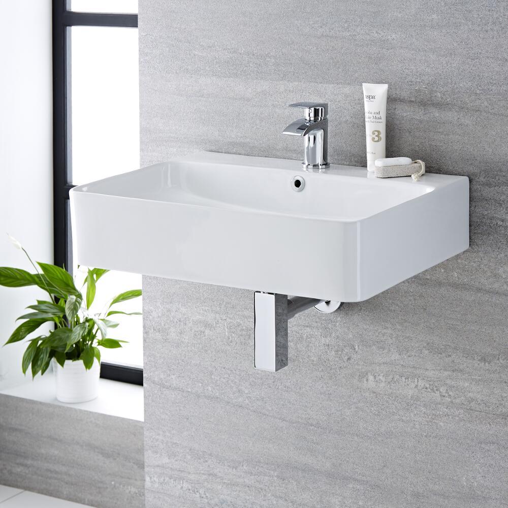 Lavabo bagno da appoggio in ceramica rettangolare 600x310mm exton - Lavabo bagno appoggio ...