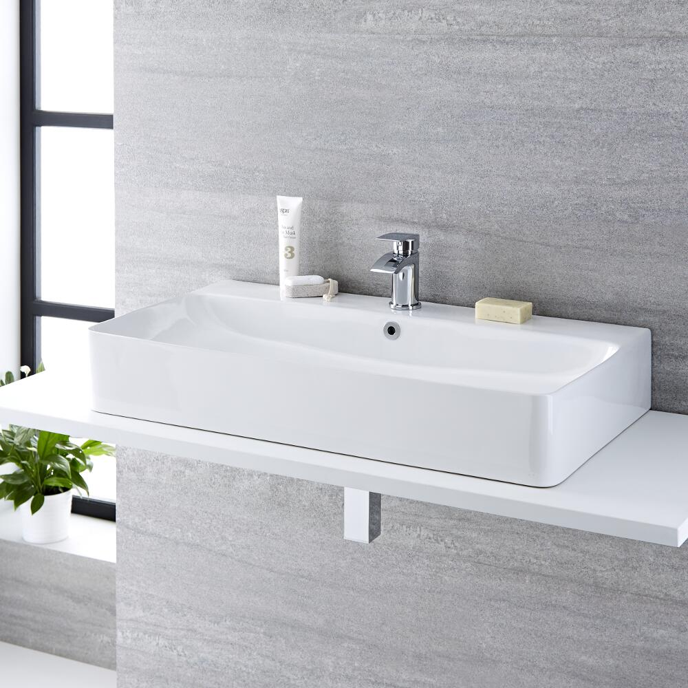 Lavabo Bagno da Appoggio Sospeso in Ceramica Rettangolare 800x415mm con Rubinetto Miscelatore - Exton