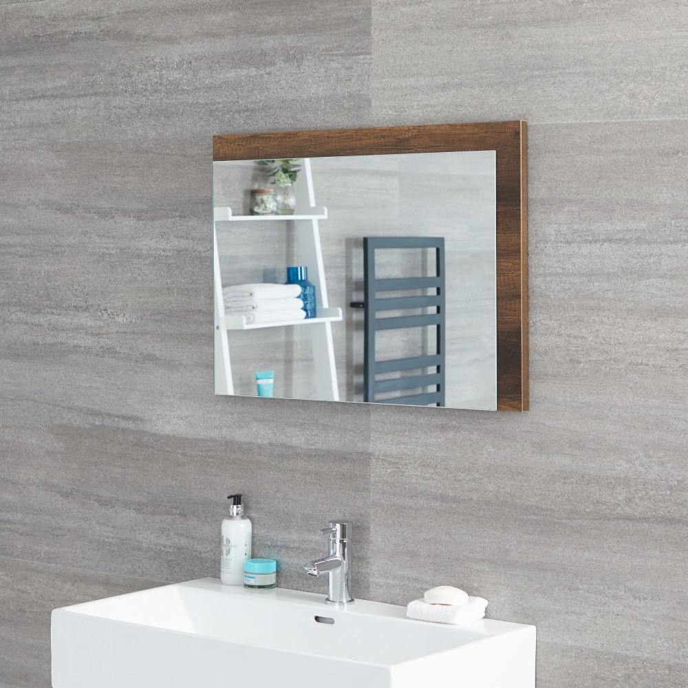 Specchio Bagno Murale 500x700mm Colore Rovere Scuro con Design Aperto - Hoxton