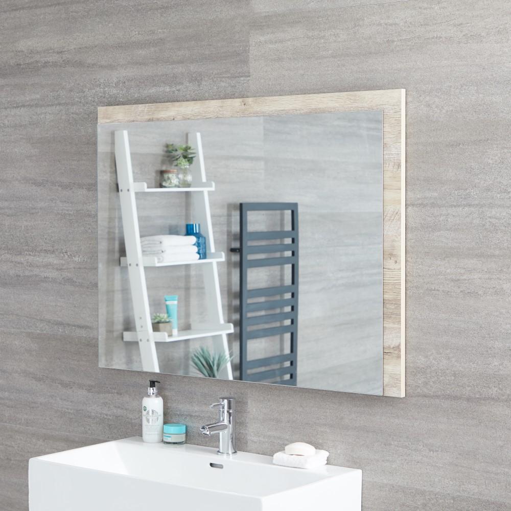 Specchio Bagno Murale 750x1000mm Colore Rovere Chiaro con Design Aperto - Hoxton