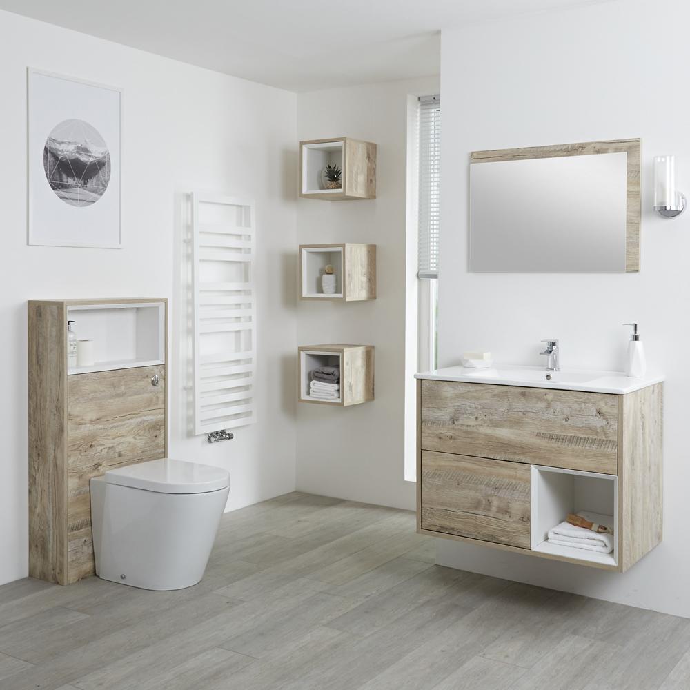Set Bagno Colore Rovere Chiaro Completo di Mobile Lavabo 800mm, Mobile WC, Mobile Murale, Specchio, Lavabo, Sanitario e Cassetta - Hoxton