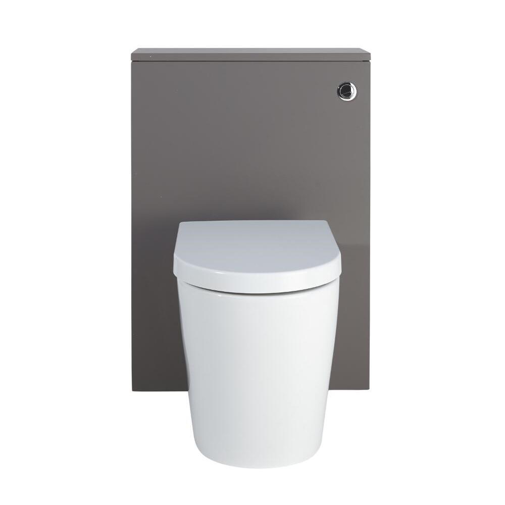 Mobile WC 600mm Colore Grigio Opaco Completo di Placca di Comando, WC e Cassetta - Newington