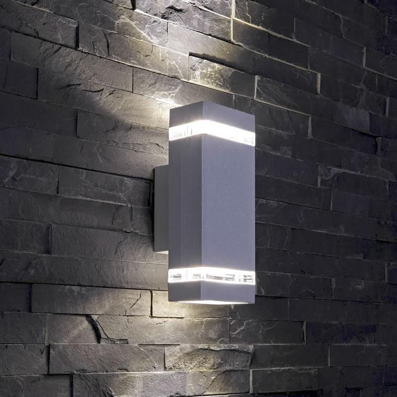 Applique da Esterno da Parete Design Cubico Colore Grigio IP54 GU10 - Architect