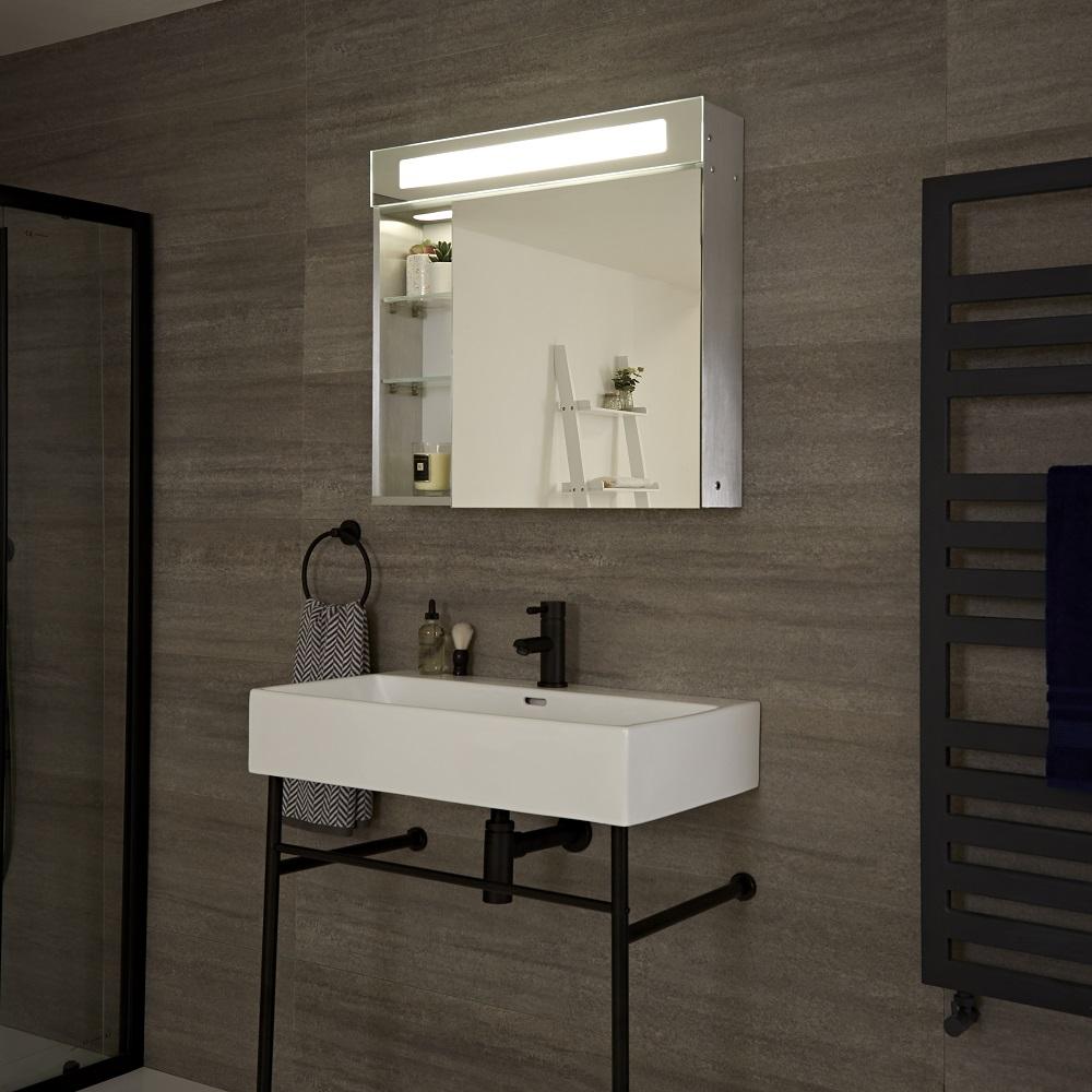 Mobile con LED e Specchio per Stanza da Bagno - Onega