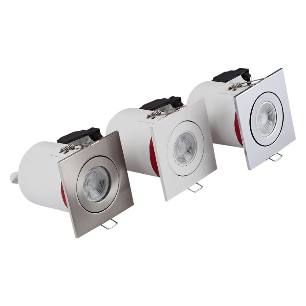Biard Kit con 3 Faretti LED da Incasso GU10 Orientabile IP20 Protezione Ignifuga con Porta Faretto Quadrato Disponibile in 3 Colori
