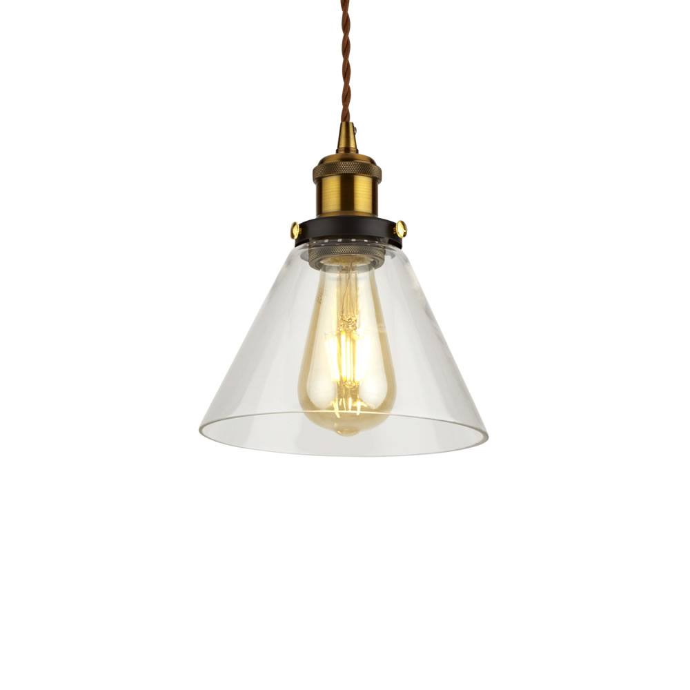 Biard Lampada a Sospensione in Stile Vintage con Vetro Trasparente Disponibile in 5 Colori