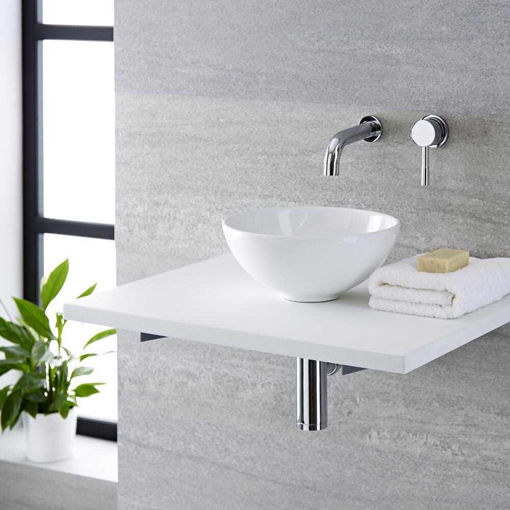 Lavabo Bagno da Appoggio Tondo in Ceramica 280x280mm con Rubinetto Miscelatore Murale  - Ashbury