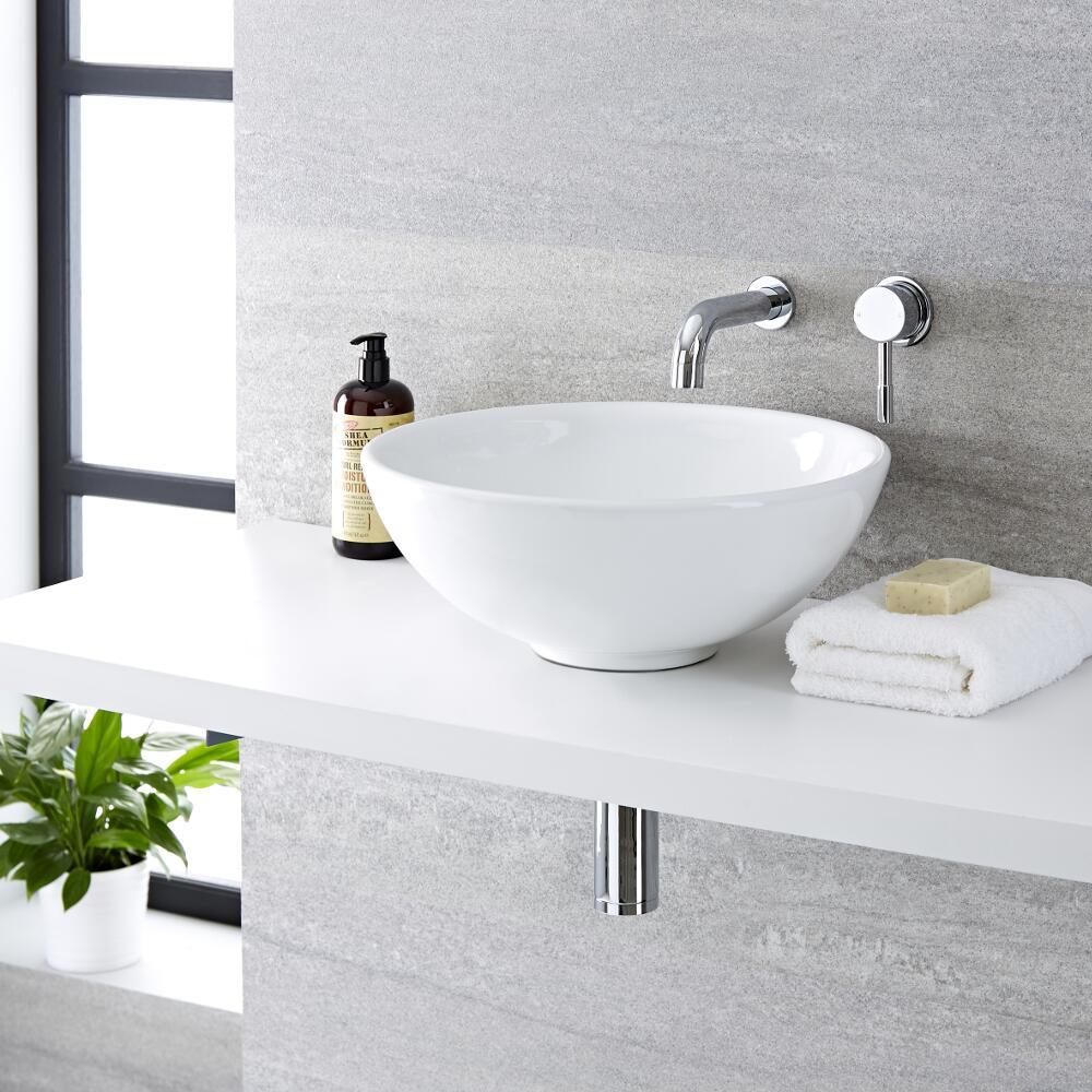 Lavabo Bagno da Appoggio Tondo in Ceramica 400x400mm con Rubinetto Miscelatore Murale -  Ashbury
