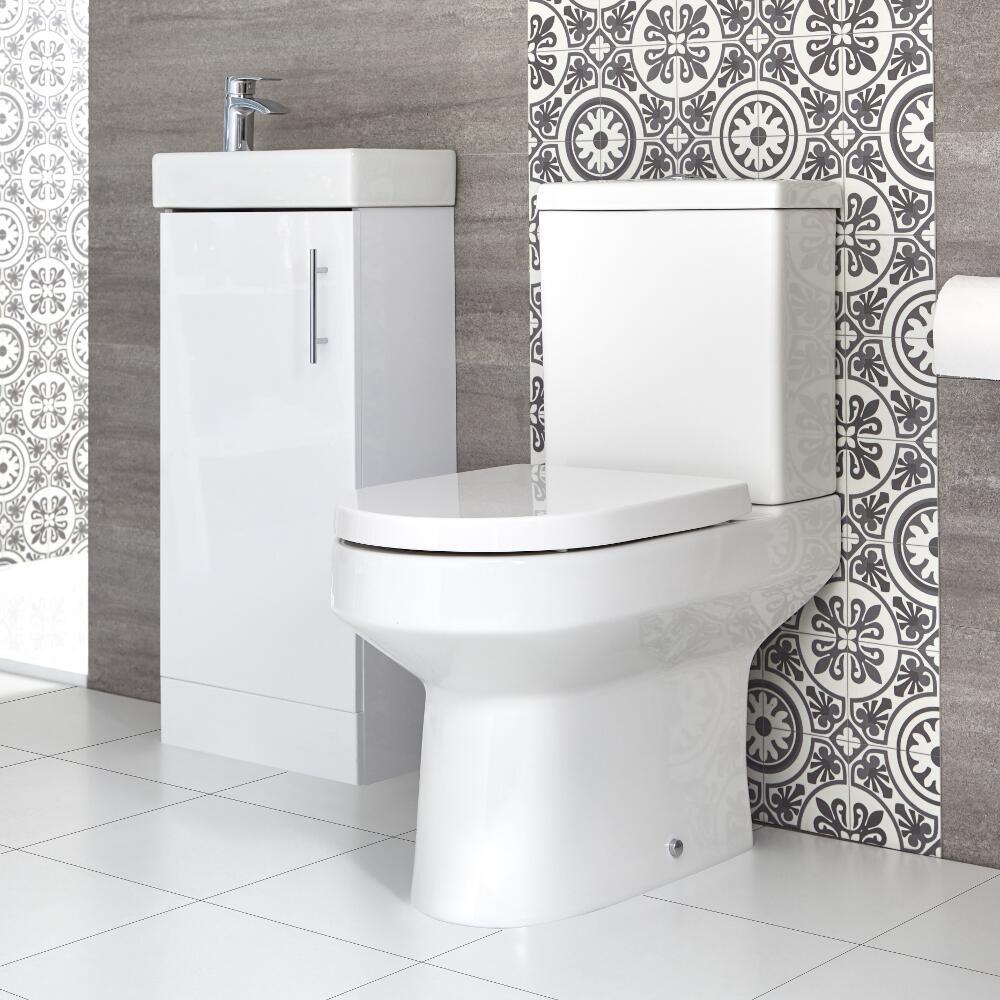 Sanitario WC Monoblocco e Mobile Bagno da Terra con Lavabo 400mm Covelly - Diverse Finiture Disponibli