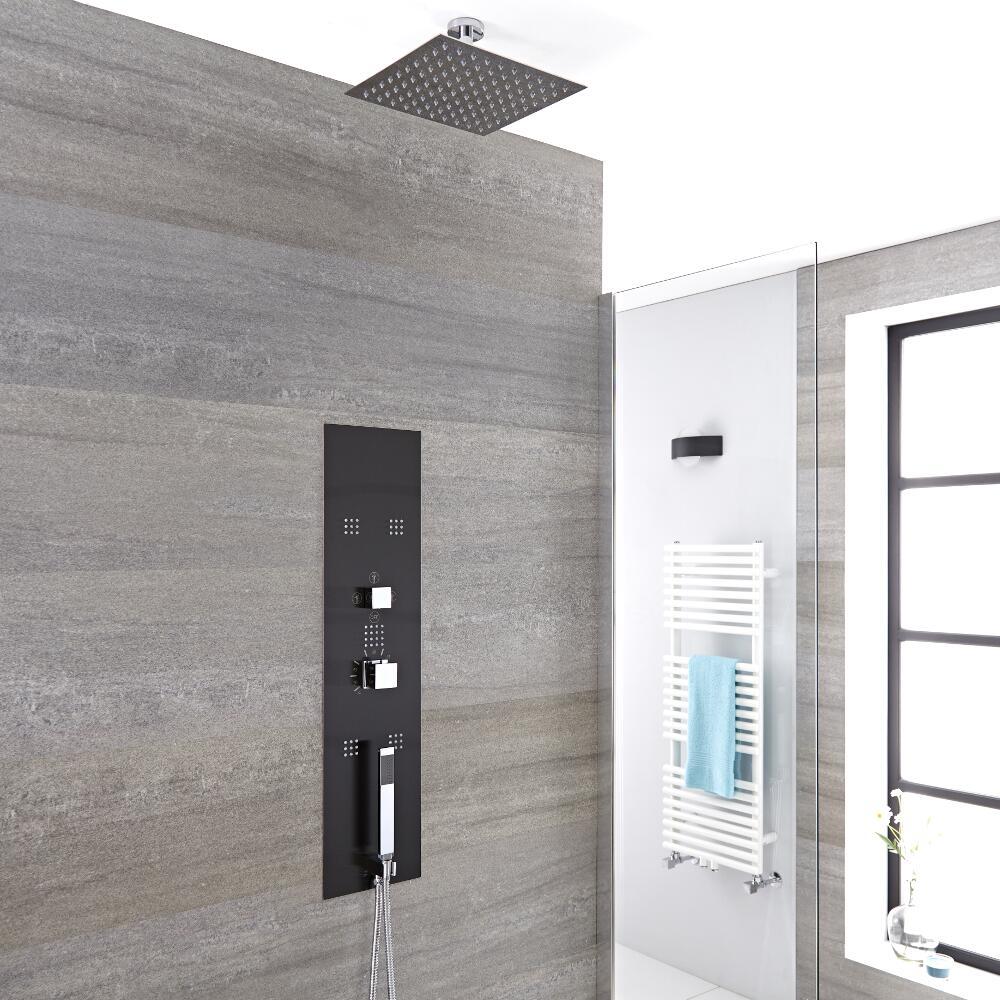 Pannello doccia idromassaggio termostatico da incasso nero con soffione doccia fisso 300mm e - Soffione doccia a soffitto ...