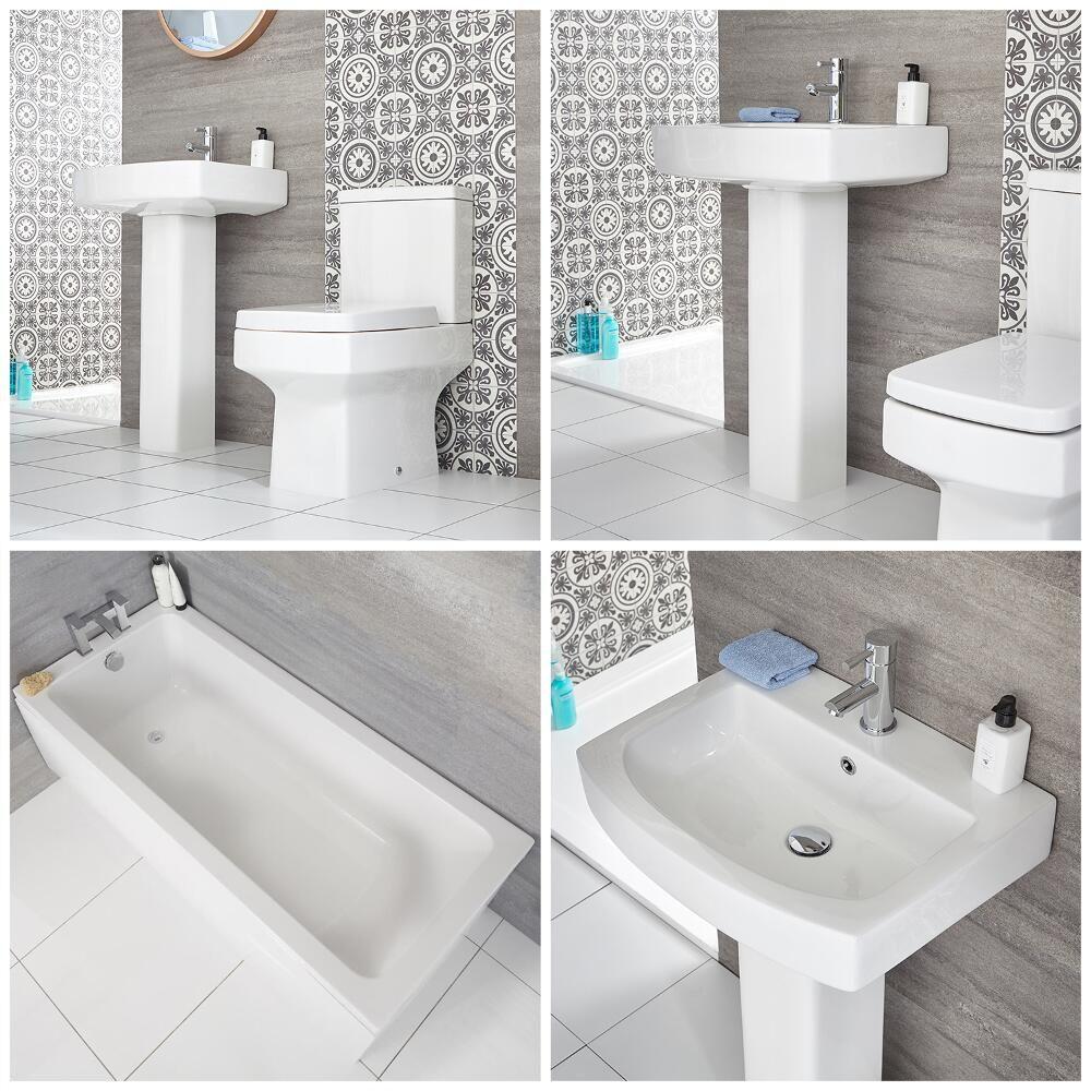Lavabo Con Vasca Da Bagno.Set Bagno Moderno Completo Di Vasca Standard Sanitario Filo Parete E Lavabo Con Colonna Exton