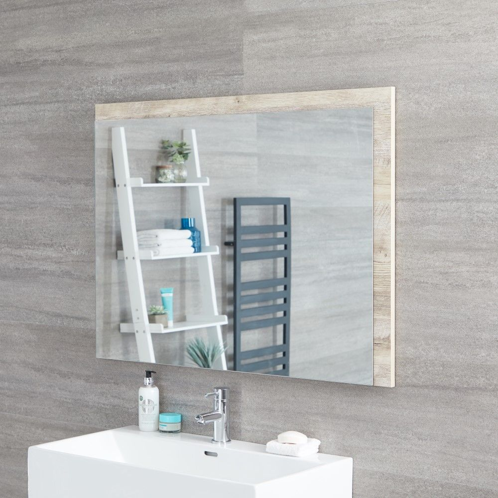Specchio Bagno Murale 750x1000mm Colore Rovere Chiaro Con Design Aperto Hoxton