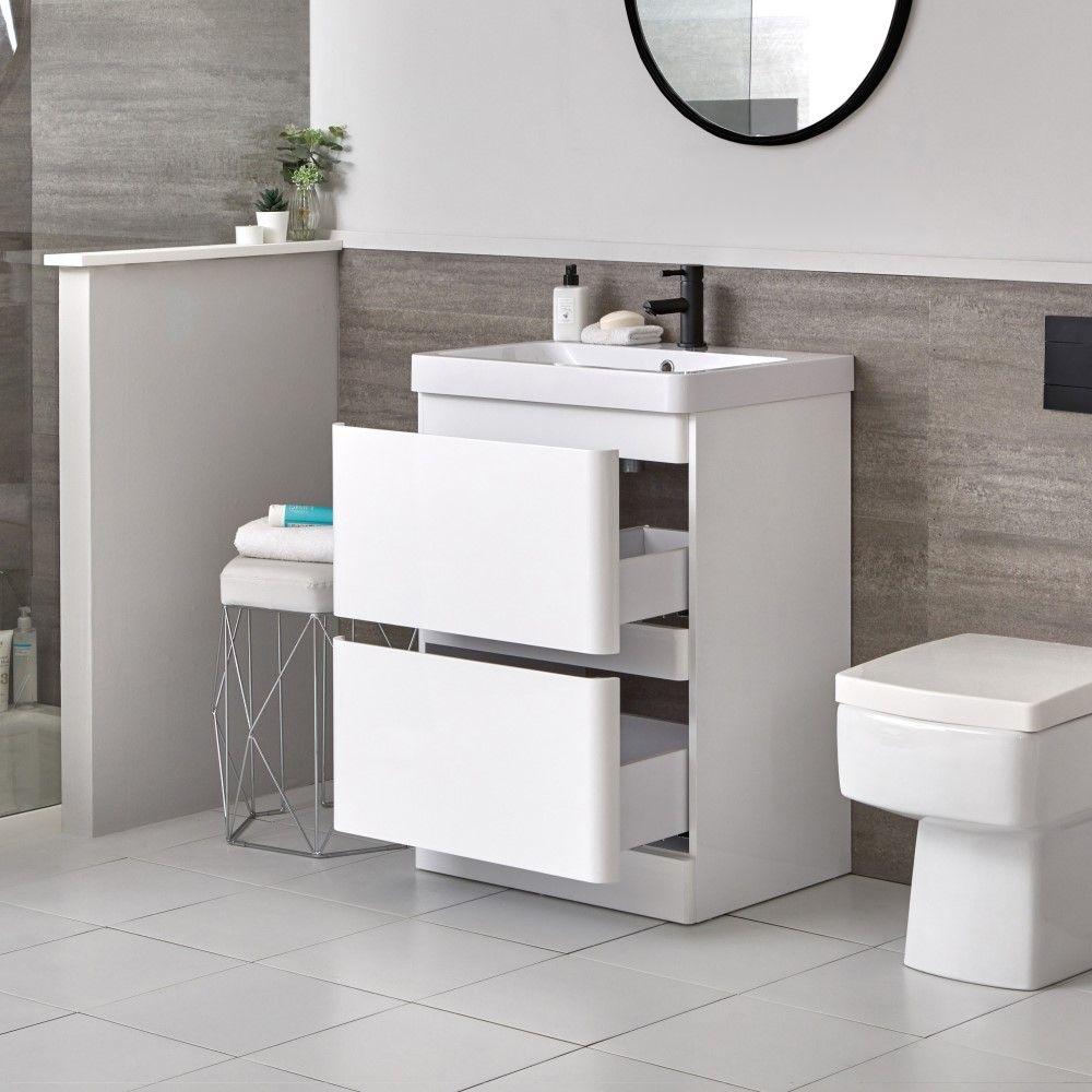 Mobile Bagno Moderno Da Terra Colore Bianco 600mm Con Lavabo Daxon
