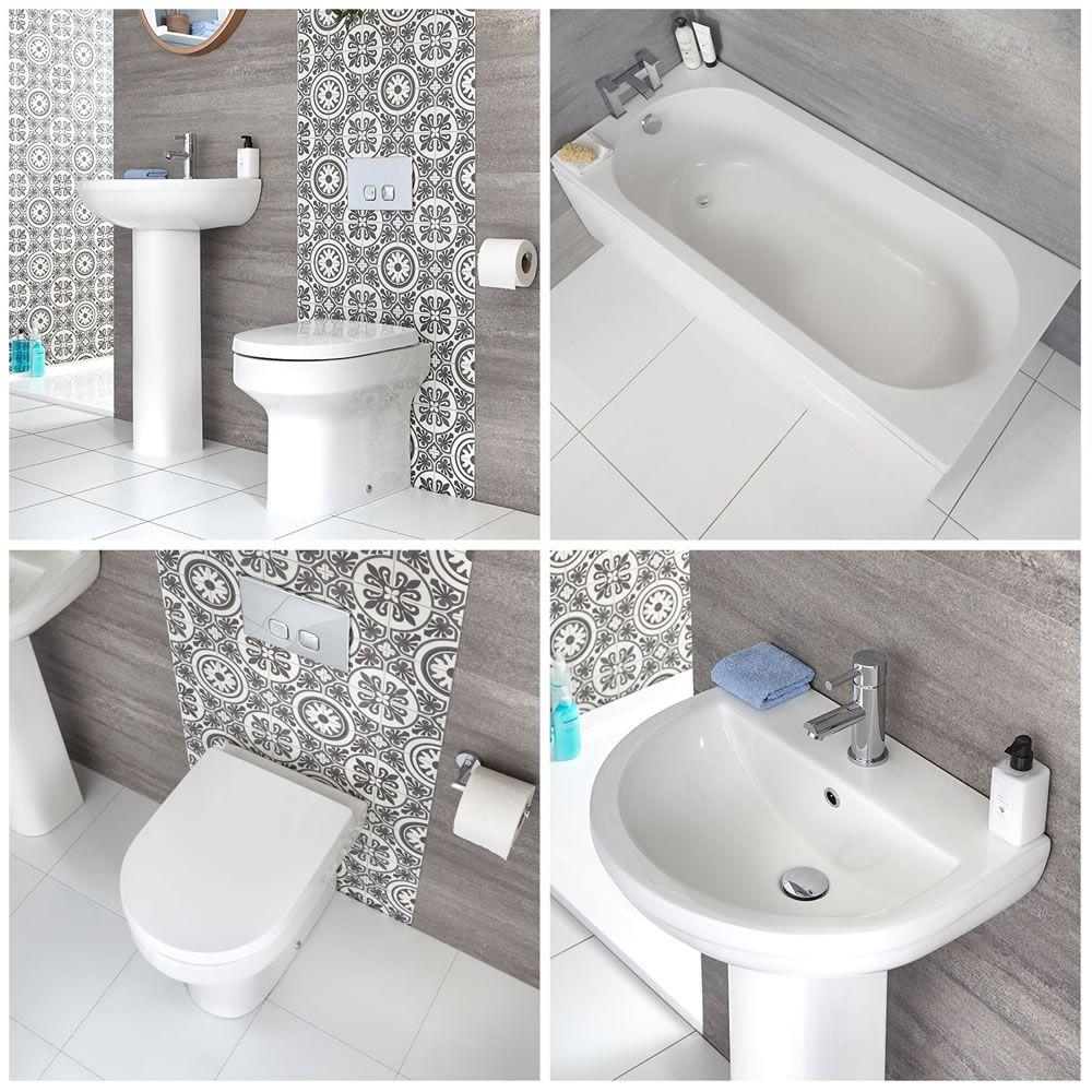 Lavabo Con Vasca Da Bagno.Set Bagno Moderno Completo Di Vasca Standard Sanitario Filo Parete E Lavabo Con Colonna Covelly