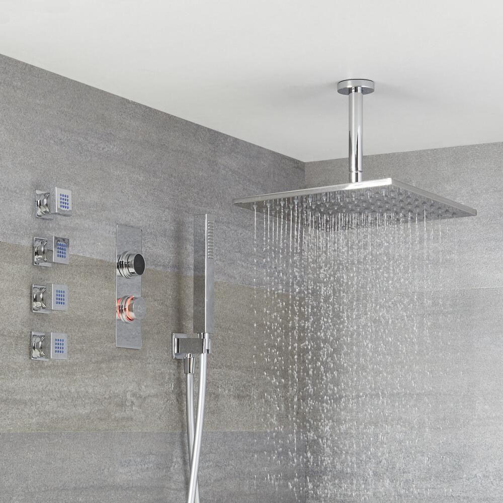 CamKpell 300 piccoli fori doccetta per risparmio idrico Soffione doccia quadrato
