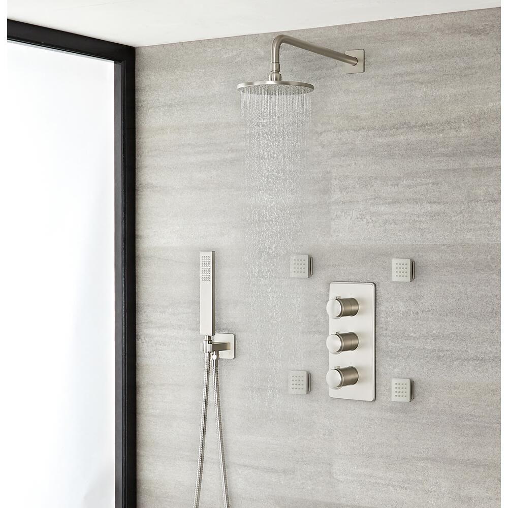 stile finitura acciaio spazzolato Set doccia set doccia in acciaio inossidabile soffione doccia ad alta pressione fornito con asta doccia tubo flessibile doccia 1,5 m